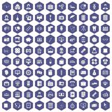 100 department icons hexagon purple. 100 department icons set in purple hexagon isolated vector illustration Stock Image