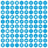 100 department icons set blue. 100 department icons set in blue hexagon isolated vector illustration Vector Illustration
