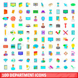 100 department icons set, cartoon style Stock Image