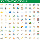 100 department icons set, cartoon style Stock Images