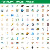 100 department icons set, cartoon style. 100 department icons set in cartoon style for any design illustration royalty free illustration