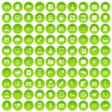 100 department icons set green circle Royalty Free Stock Image