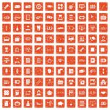 100 department icons set grunge orange. 100 department icons set in grunge style orange color isolated on white background vector illustration Stock Images