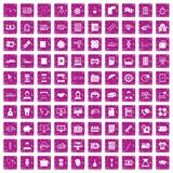 100 department icons set grunge pink. 100 department icons set in grunge style pink color isolated on white background vector illustration Royalty Free Stock Photos