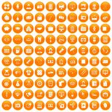 100 department icons set orange. 100 department icons set in orange circle isolated on white vector illustration vector illustration