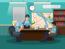 Department of internal investigations. Develop an action plan. Three policemen in the office at the table. Stock Photo