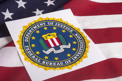 Department of justice with US flag. Department of justice Federal bureau of investigation with US flag background Royalty Free Stock Photography