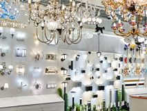 Department of lanterns, fixtures and chandeliers in store Stock Photos