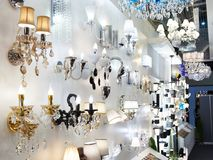 Department of fixtures and chandeliers in store. Department of lights, fixtures and chandeliers in the store Royalty Free Stock Photo