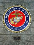 Department Of The Navy, United States Marine Corps, Emblem. Department of The Navy - United States Marine Corps, emblem on the wall in Kingman, Arizona stock images