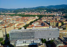 Department of Philosophy and Education Sciences - Turin - Italy. Aerial View of Turin - Italy - in the foreground Department of Philosophy and Education Sciences Stock Image