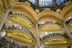 Department store. Modernist balconies in La Fayette department stores of Paris placed below the central dome stock image