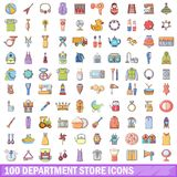 100 department store icons set, cartoon style. 100 department store icons set. Cartoon illustration of 100 department store vector icons isolated on white Stock Photos