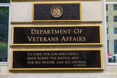 Department of Veteran Affairs Washington DC. US Department of Veteran Affairs Washington DC.  Located next to White House.  Veteran Affairs go all the way back Stock Images