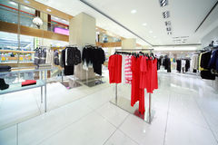 Department of womanish clothes is in shop Stock Images