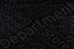 Department ,Word cloud art on blackboard.  royalty free stock images
