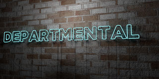 DEPARTMENTAL - Glowing Neon Sign on stonework wall - 3D rendered royalty free stock illustration Royalty Free Stock Photography