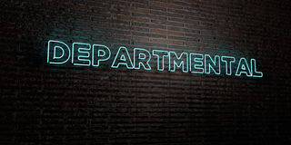 DEPARTMENTAL -Realistic Neon Sign on Brick Wall background - 3D rendered royalty free stock image Stock Images