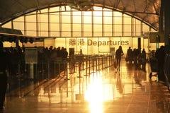 Departur dell'aeroporto di Hong Kong Immagini Stock Libere da Diritti