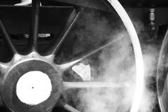 Departure. Wheels of a steam engine train Stock Photo