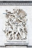 The Departure of 1792 (La Marseillaise). Giant sculptures on one of the four facet of the arch of triumph symbolizing the departure of 1792 of the French royalty free stock photos