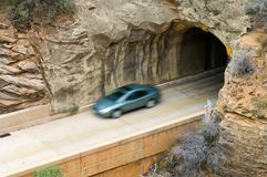 Departure. A vehicle exits the Zion - Mt. Carmel tunnel Royalty Free Stock Images