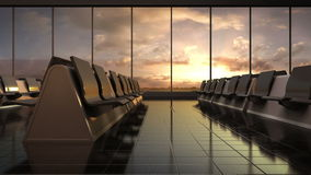 Departure airplane in flight waiting hall. sunset. moving camera. stock video footage