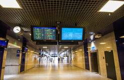 Departure & Arrival Boards at Brussels Midi train station in Bel Royalty Free Stock Images