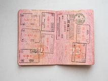 Departure and arrival immigration stamps in russian passport stamped on border crossing stock photos