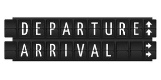 Departure and arrival text Stock Photos