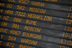 Departure/Arrivals  board at International Airport Stock Photo