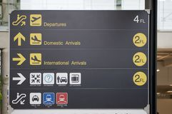 Departure, arrivals and transport guide board sign at international airport. Departure, arrivals and transport guide information board sign with yellow and white Stock Photo