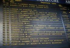 Departure board. Departure board in Gare du Nord rail station, Paris Royalty Free Stock Image