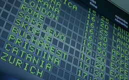 Departure board. Picture of a departure information board at the airport royalty free stock photography