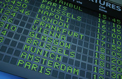 Departure board. Picture of a departure information board at the airport stock photo