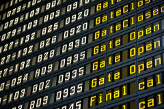 Departure board in airport Royalty Free Stock Photos