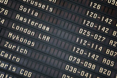 Departure board in airport. Stock Images