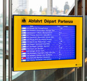 Departure board at the Bern train station Royalty Free Stock Image