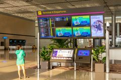Departure Board in Changi Airport Singapore stock photography