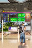 Departure Board in Changi Airport Singapore royalty free stock photography