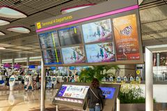 Departure Board in Changi Airport Singapore royalty free stock images