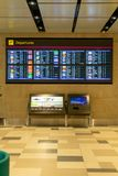 Departure Board in Changi Airport Singapore stock photos