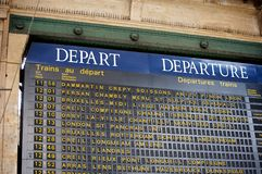 Departure board at a Paris' train station Stock Image