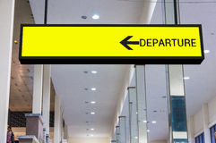 Departure board sign at the airport Stock Photo