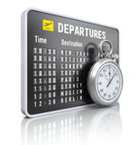 Departure board with stop watch Stock Photos
