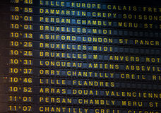 Departure board on the train station in Paris, France Royalty Free Stock Image