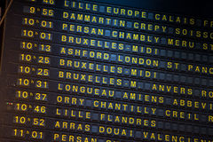 Departure board on the train station in Paris, France Royalty Free Stock Photos