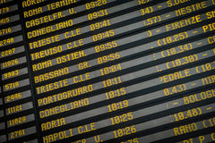 Departure board on the train station in Venice, Italy Royalty Free Stock Photography