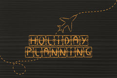 Departure board with writing Holiday Planning and airplane flyin Royalty Free Stock Image