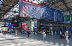 Departure board at the Zurich main railway station Royalty Free Stock Photo